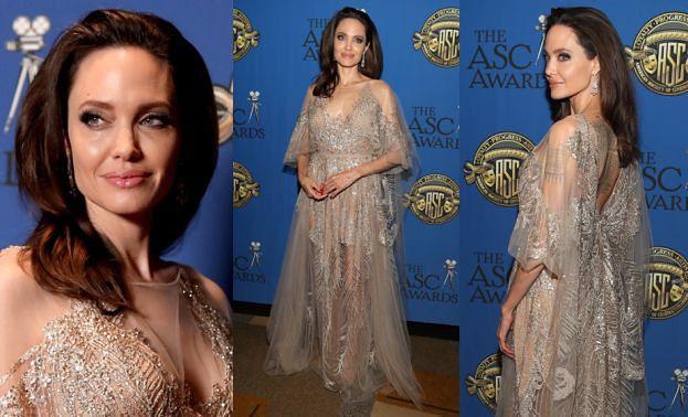 Elegancka Angelina Jolie odbiera nagrodę w Hollywood