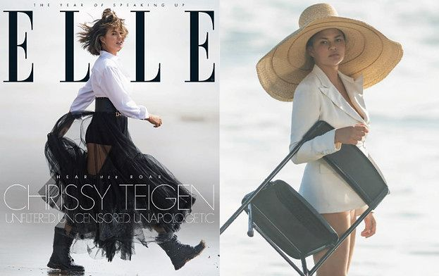 Wystylizowana Chrissy Teigen targa krzesło po plaży