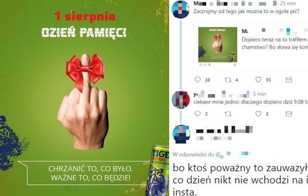 Napój energetyczny reklamował się z okazji Powstania Warszawskiego... ŚRODKOWYM PALCEM? Firma już przeprosiła