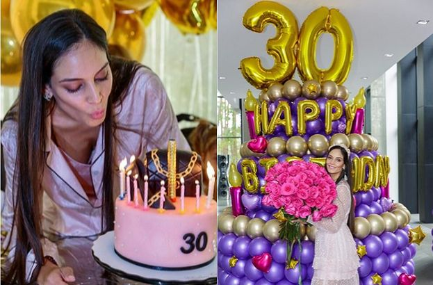 Młodsza o 18 lat żona miliardera świętuje 30. urodziny: gigantyczna wieża z balonów i tort z drogim butem