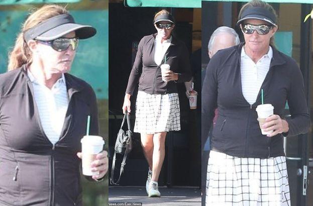 Zmęczona grą w tenisa Caitlyn Jenner idzie z kawą do auta (FOTO)