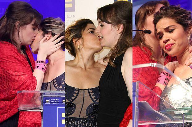 Lena Dunham CAŁUJE Americę Ferrerę na gali Human Rights Campaign (ZDJĘCIA)