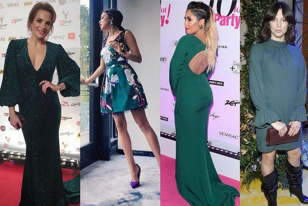 Sukienki w kolorze butelkowej zieleni - wybór gwiazd