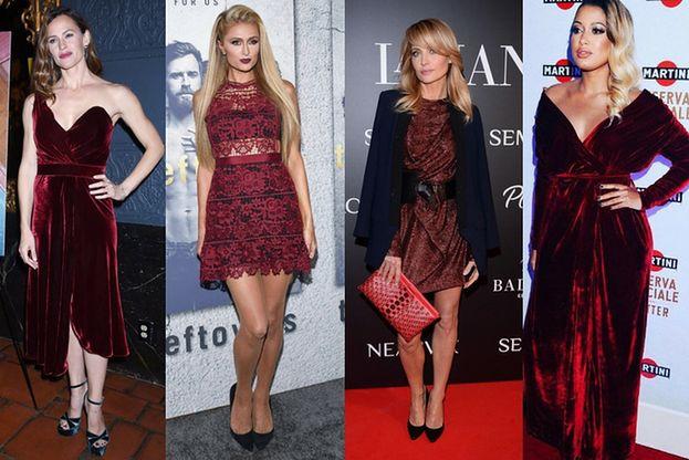 Bordowe sukienki w stylizacjach gwiazd