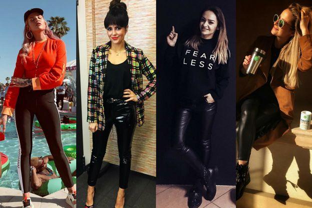Czarne legginsy w stylizacjach celebrytek - nie tylko na sportowo