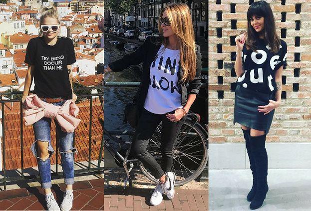 Najciekawsze koszulki z napisami w stylizacjach celebrytek