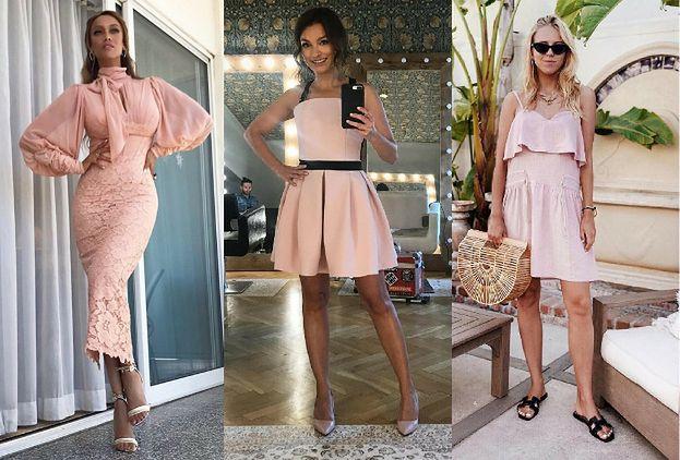 Sukienki w kolorze pudrowego różu  jak noszą je gwiazdy?