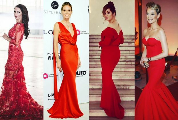 Długie czerwone sukienki w stylizacjach gwiazd