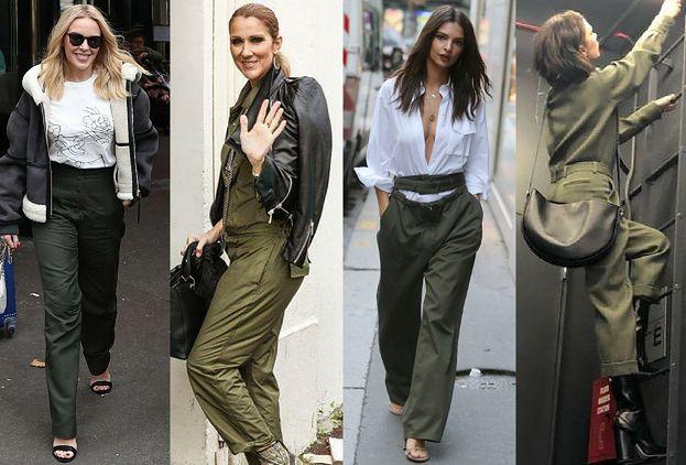 9bc0f833360f4 Modne spodnie khaki w stylizacjach celebrytek - PUDELEK