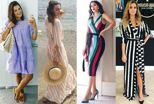 d498193233 Modne sukienki w pionowe paski – 5 inspiracji - PUDELEK