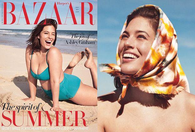 """Naturalna Ashley Graham powraca w plażowej sesji dla """"Harper's Bazaar"""""""