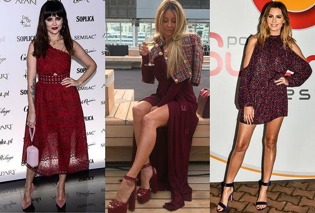 10cc700667e5f Eleganckie bordowe sukienki - jakie wybierają gwiazdy? - PUDELEK