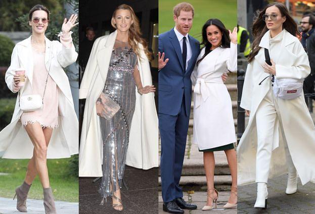 Białe płaszcze w stylizacjach gwiazd