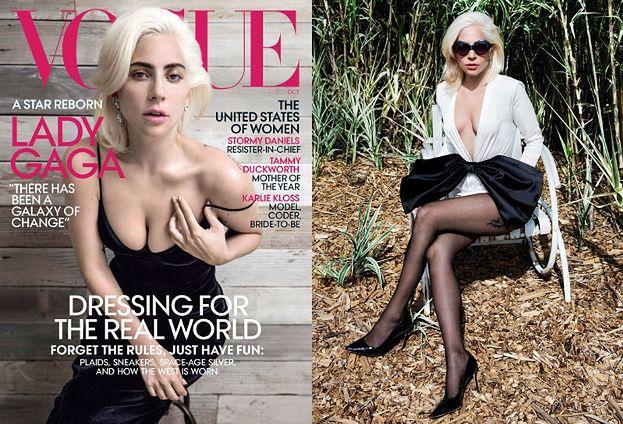 """Ściśnięte piersi Lady Gagi pozdrawiają z okładki """"Vogue'a"""""""