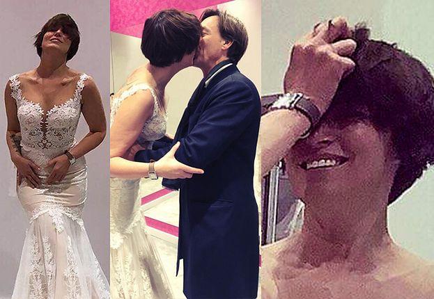 """Roześmiana Felicjańska """"zmysłowo"""" wygina się w sukni ślubnej i całuje Montanę (FOTO)"""