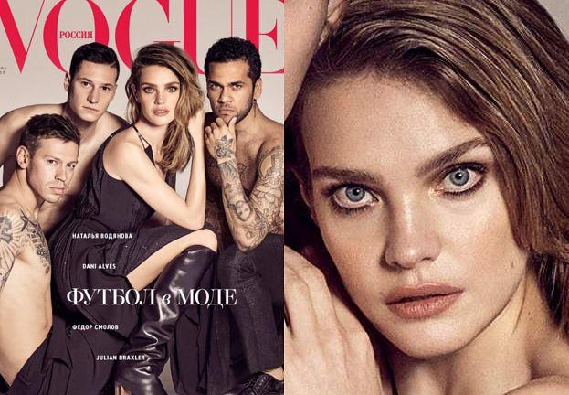 """""""Opętana"""" Vodianova wtula się w piłkarzy na okładce """"Vogue'a"""""""