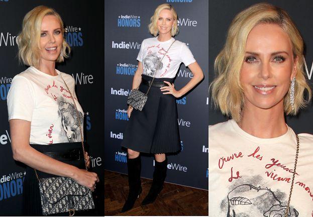 Charlize Theron chwali się hollywoodzkim uśmiechem i torebkę Diora za 14 tysięcy