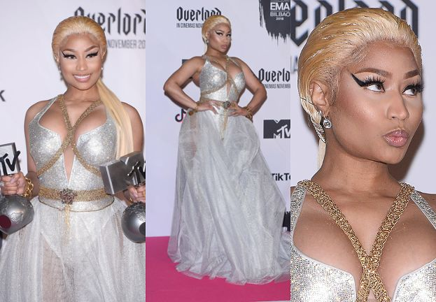 Nicki Minaj triumfuje na MTV EMA w srebrnej kreacji Versace