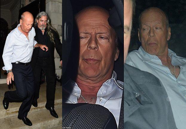 Pijany Bruce Willis wytacza się z londyńskiego pubu w asyście ochroniarza (FOTO)
