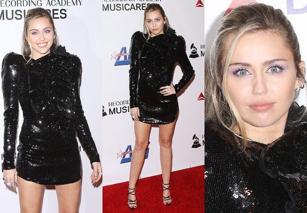 Błyszcząca Miley Cyrus eksponuje długie nogi w cekinowej kreacji