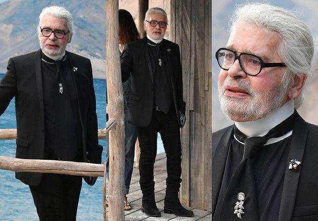 Zatroskany Karl Lagerfeld bez okularów słonecznych na pokazie Chanel