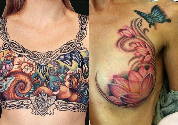 Te Tatuaże Pokrywają Blizny Po Usuniętych Piersiach