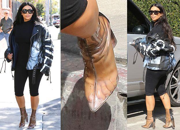 b56a8874a5624 Kim w kurtce ze swoją podobizną! Wcisnęła się w za małe buty? (ZDJĘCIA
