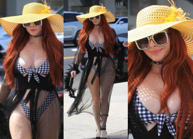 Ognistowłosa celebrytka spaceruje po ulicach Beverly Hills przebrana za prostytutkę - plażowiczkę