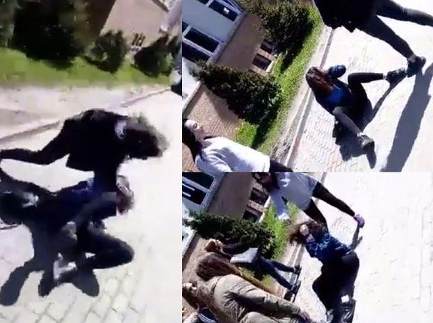 """Nastolatki brutalnie pobiły dziewczynę przed szkołą! """"ZA*EB JEJ KOPA W ŁEB!""""(WIDEO)"""