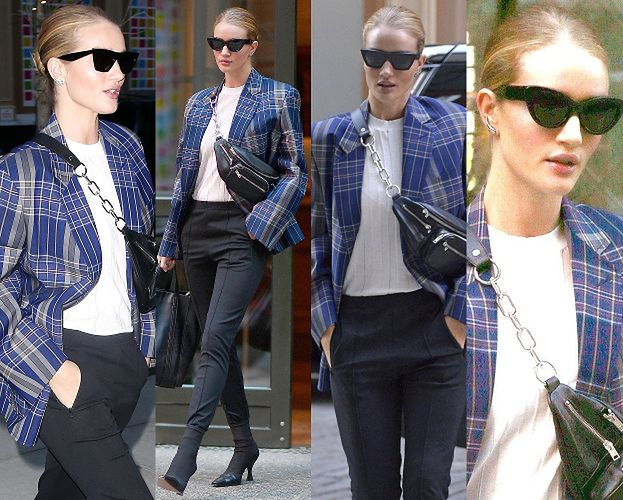 #TRENDY: Rosie Huntington-Whiteley w kraciastej marynarce