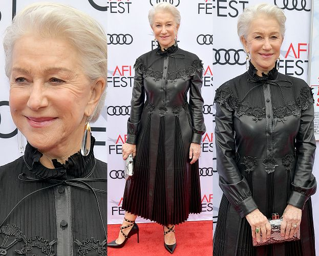 72-letnia Helen Mirren w skórzanej sukni od Valentino