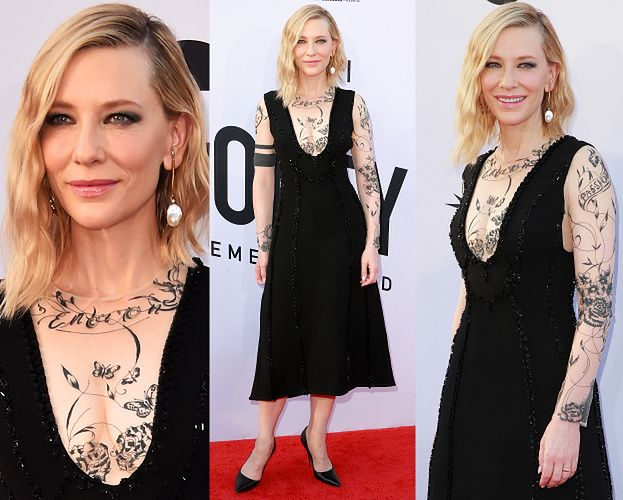 Cate Blanchett w sukience imitującej tatuaże...