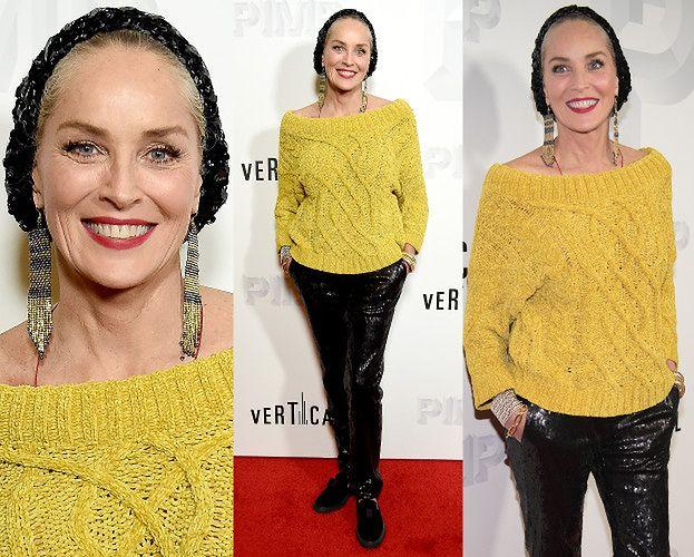 Wyluzowana Sharon Stone przyszła na premierę w swetrze