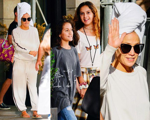 Jennifer Lopez W RĘCZNIKU NA GŁOWIE opuszcza hotel z córką i pasierbicą (ZDJĘCIA)
