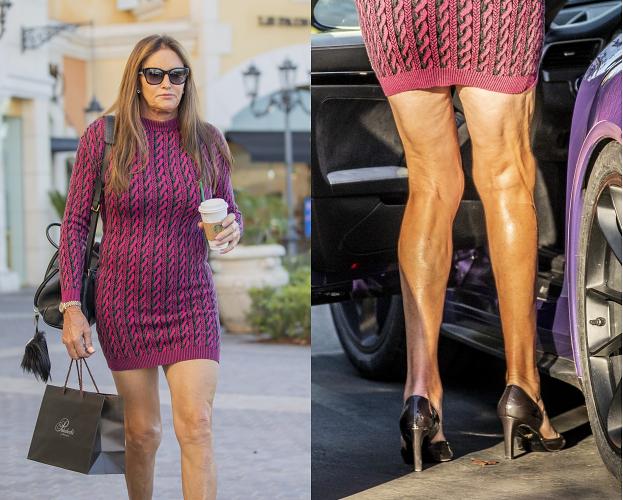 69-letnia Caitlyn Jenner w różowej mini wsiada do porsche (FOTO)