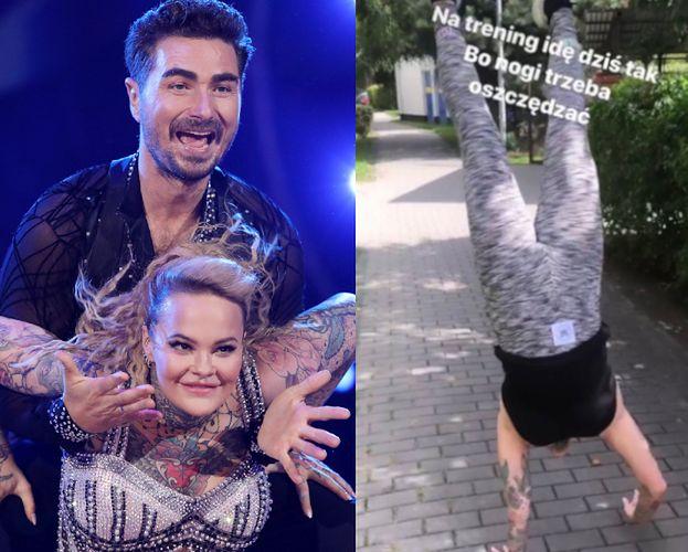 """Monika Miller idzie na rękach na trening do """"Tańca z Gwiazdami"""": """"Nogi trzeba oszczędzać"""""""