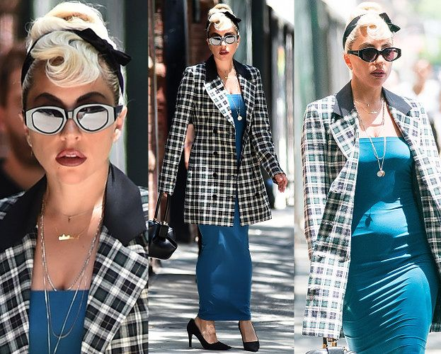 Elegancka Lady Gaga w za dużych butach Prady