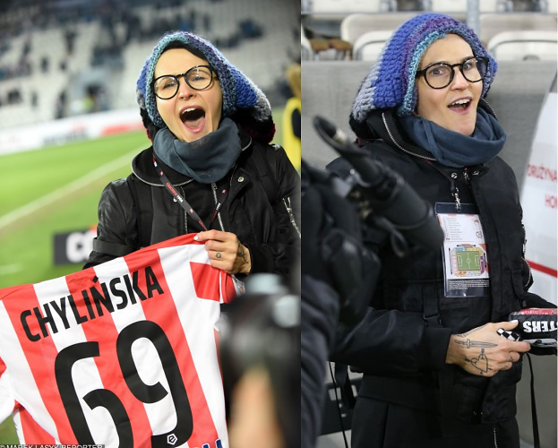 """Zadowolona Chylińska """"ubrana na cebulkę"""" kibicuje Cracovii (FOTO)"""