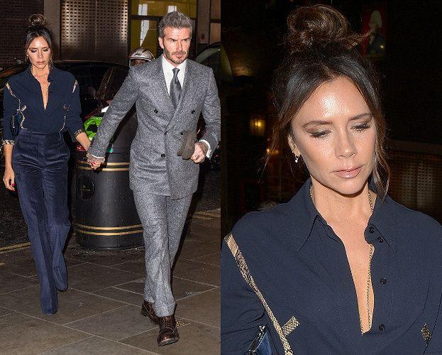 Elegancki David Beckham ciągnie żonę na branżową kolację