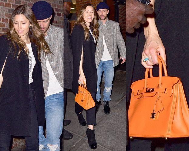 Jessica Biel wychodzi z baru z mężem i torebką za 40 tysięcy