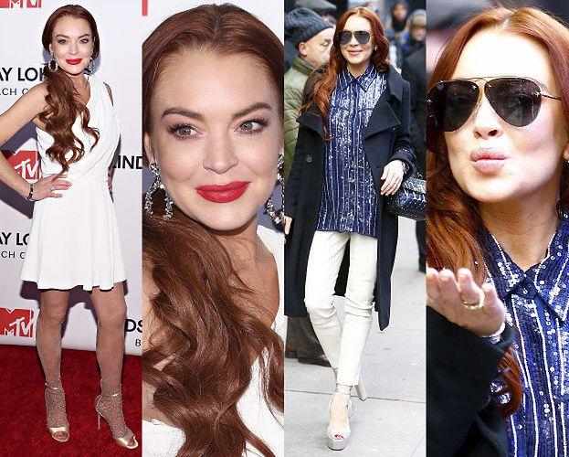 """Lindsay Lohan świętuje """"wielki powrót"""" w dwóch stylizacjach"""