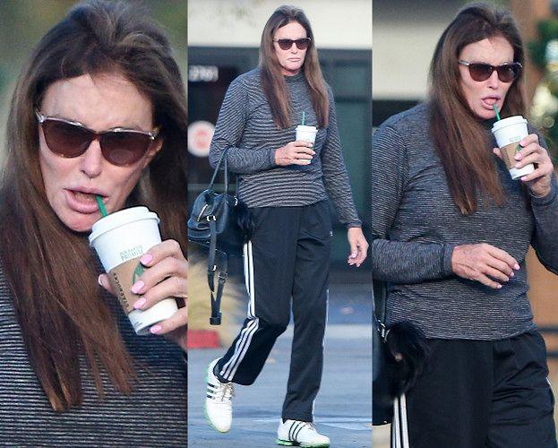 Wyluzowana Caitlyn Jenner rozkoszuje się kawą przez słomkę