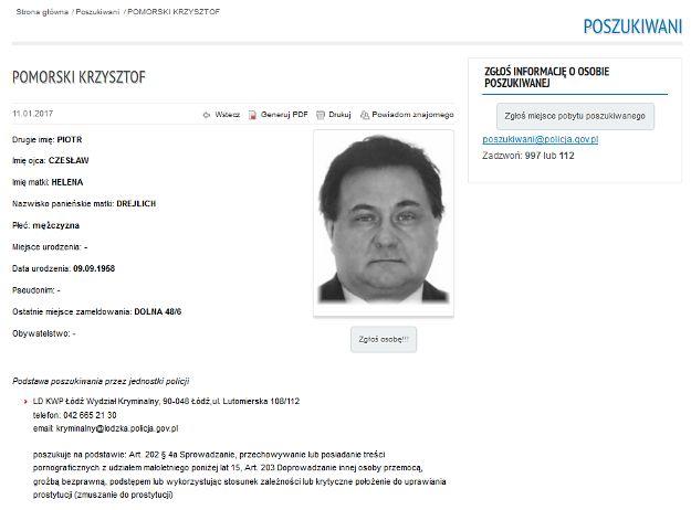 Poszukiwany Krzysztof Pomorski