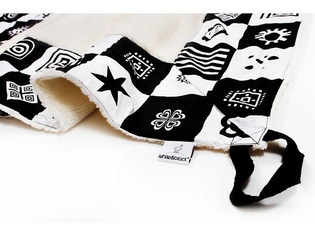 Koc dla dziecka z uchwytami White&Black biało-czarny