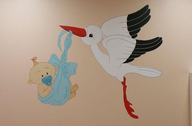 Rysunek na ścianie Szpitala Wojewódzkiego w Gorzowie Wielkopolskim przy ul. Dekerta