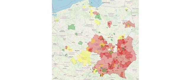 """Atlas nienawiści. Na czerwono zaznaczone gminy i powiaty """"wolne od LGBT"""""""