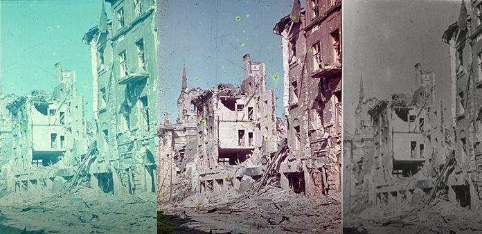 Trzy wersje tych samych zdjęć zniszczonej Warszawy