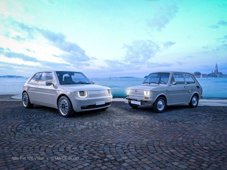 Wizja nowego Fiata 126 wraz z oryginałem (fot. MA-DE studio)