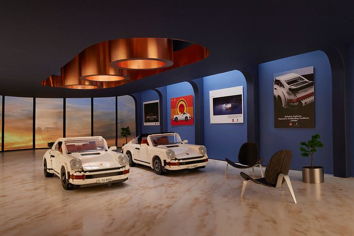 Porsche 911 Turbo i 911 Targa Lego (10295) z reprodukcjami klasycznych reklam