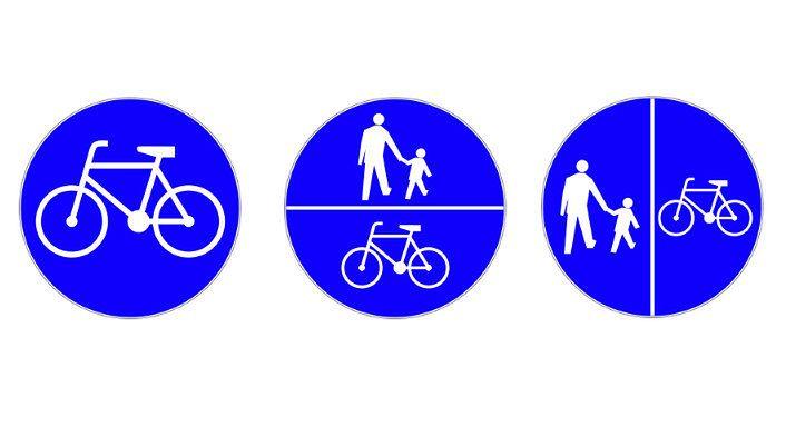 Od lewej: ścieżka rowerowa i dwa oznaczenia ciągu pieszo-rowerowego. Ostatni znak wyznacza podział, po której stronie powinny poruszać się rowery, a po której piesi